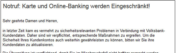 Ansicht der Phishing-Mail
